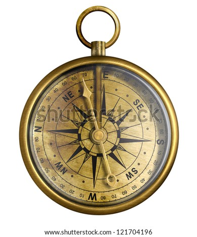 brass antique compass isolated on white - stock photo