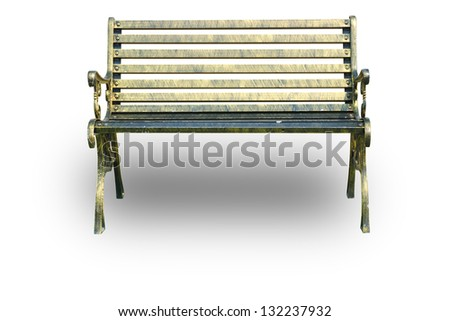 Brass bench above shadow. - stock photo