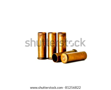 Brass bullet shells, 38 size for revolver handgun, studio shot - stock photo