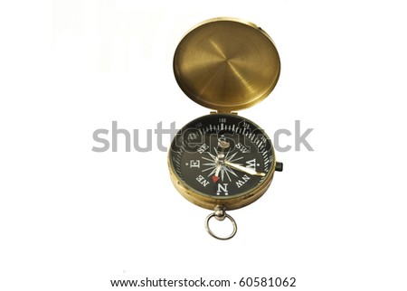 Brass Cased Pocket Compass Isolated on White