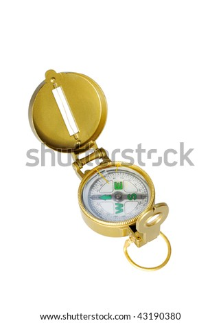 brass compass isolated on white - stock photo
