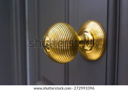 Brass door knob handle - stock photo