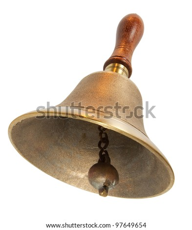 Brass Handbell with wooden Handle - stock photo