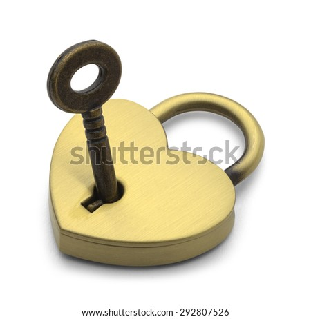Brass Heart with Key Isolated on White Background. - stock photo
