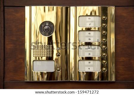 Brass intercom close up - stock photo