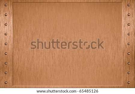 Brass metal plate with border and rivets - stock photo
