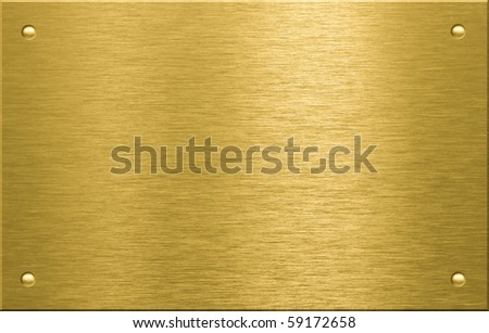 Brass or bronze metal plate with four rivets - stock photo