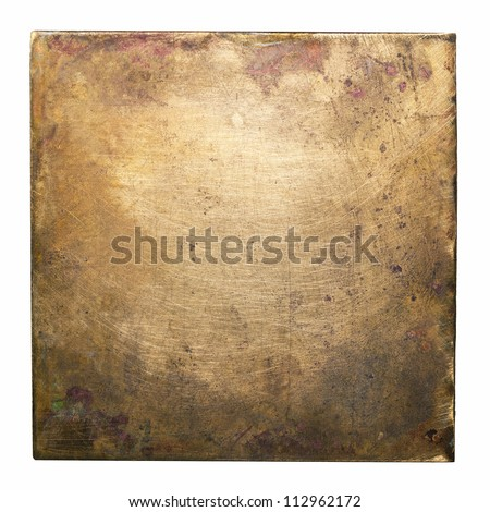 Brass plate texture, old metal background. - stock photo