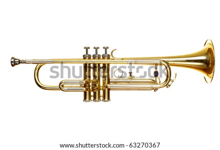 brass trumpet over white background