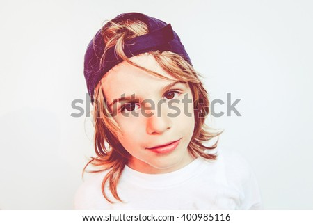 brat child  - filtered vintage style photo - stock photo