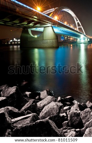 Bratislava Apollo bridge on Danube river - stock photo