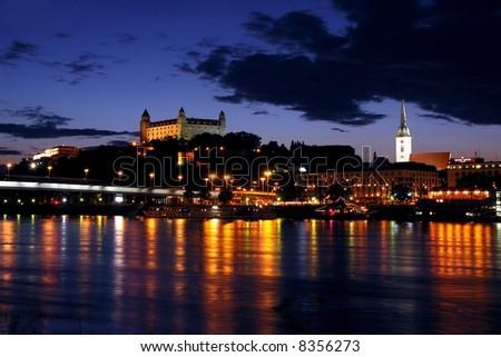 Bratislava at night - stock photo