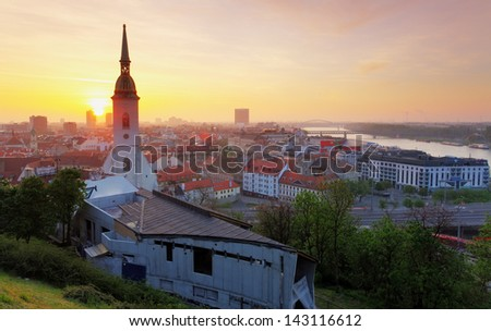Bratislava at sunrise - stock photo