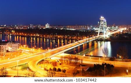 Bratislava bridge at night - stock photo