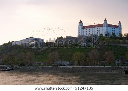 Bratislava castle above Danube river, Slovakia - stock photo