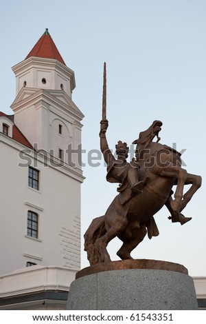 Bratislava castle after renovation with statue of king Svatopluk, Slovakia - stock photo