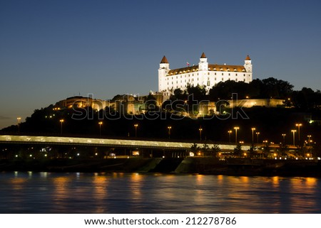 Bratislava castle at night, Slovakia - stock photo