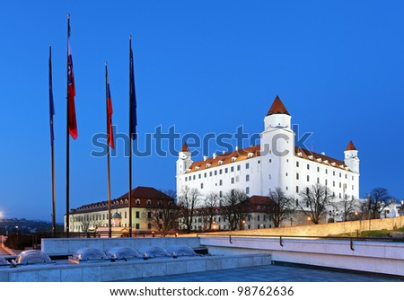 Bratislava castle from parliament at twilight - Slovakia - stock photo
