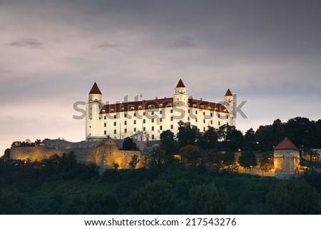 Bratislava castle is one of the landmarks of Slovak capital city. - stock photo
