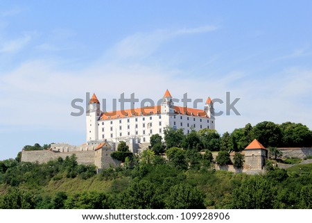 Bratislava castle. Situated on a plateau 85 meters (279 ft) above the Danube. First stone was settled in the 10th century. Slovakia - stock photo