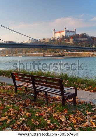 Bratislava castle with bench - stock photo