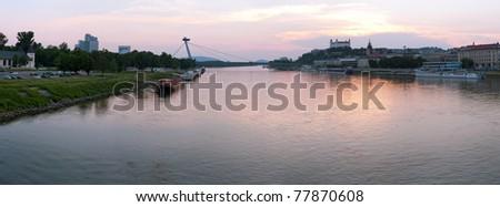 Bratislava city at dusk, Slovakia - stock photo
