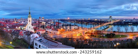Bratislava cityscape at night, Slovakia - stock photo