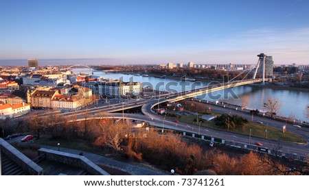 Bratislava from castle - stock photo