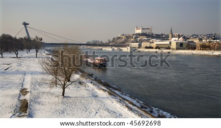 Bratislava - look from old bridge - stock photo