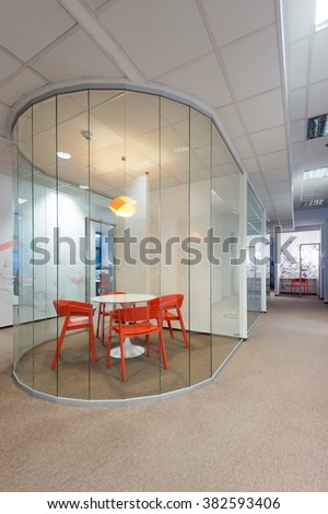 BRATISLAVA, SLOVAKIA - FEB 18, 2016: Modern attractive design of office interiors in IT company Millennium created by young interior designers from Kivvi architects based in Bratislava, Slovakia - stock photo