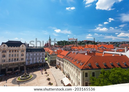BRATISLAVA, SLOVAKIA-IYUL 27,2013: View of old castle in Bratislava,. Bratislava is the only capital of the world which directly borders on two other states  Austria and Hungary.  - stock photo