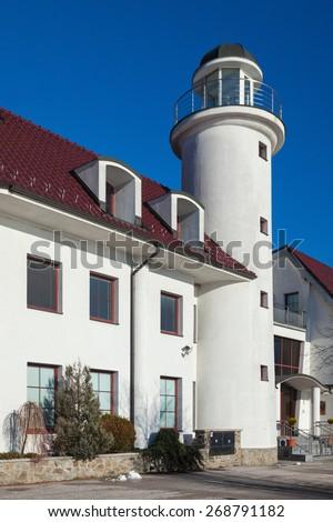BRATISLAVA, SLOVAKIA - JANUARY 6, 2015: Entrance to lighthouse near Devin castle at the confluence  of rivers Morava and Danube. - stock photo