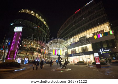 BRATISLAVA, SLOVAKIA - JANUARY 6, 2015: Galleria Eurovea shopping centre at night.
