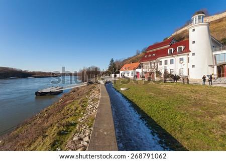 BRATISLAVA, SLOVAKIA - JANUARY 6, 2015: Lighthouse near Devin castle at the confluence  of rivers Morava and Danube. - stock photo