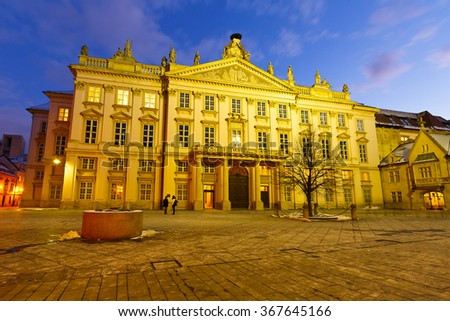 Bratislava, Slovakia - January 21, 2016: Square and Primates' Palace in the old town of Bratislava, Slovakia.