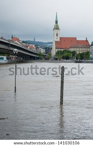 BRATISLAVA, SLOVAKIA - JUNE 4: The level of the Danube River in Bratislava exceeded 900 centimeters on June 4, which triggered a third-degree flood warning in Bratislava - stock photo
