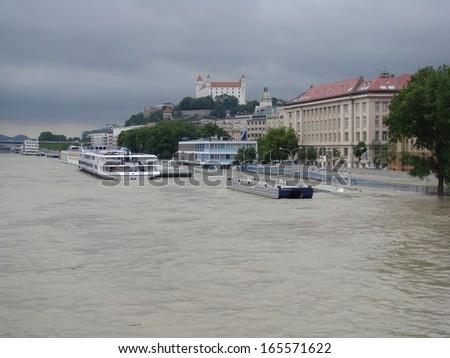 Bratislava, Slovakia - June 4: The water of Danube river flooded the personal harbor on Fajnorovo Embankment in Bratislava on June 4th, 2013 - stock photo