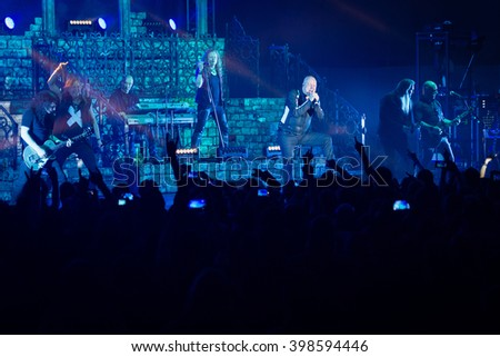 BRATISLAVA, SLOVAKIA - MARCH 28: Performance of Tobias Sammet's project Avantasia during Ghostlights World Tour in Bratislava, Slovakia on March 28, 2016