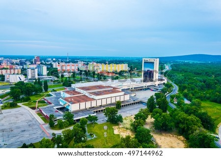 BRATISLAVA, SLOVAKIA, MAY 28, 2016: Aerial view of petrzalka district of Bratislava in slovakia dominated by incheba expo during sunset