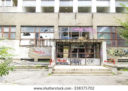Bratislava, Slovakia- October 21, 2015: Abandoned ruined building with graffiti Slovakia on October 21, 2015. - stock photo