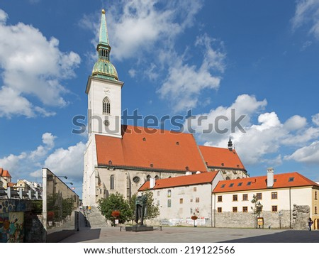 BRATISLAVA, SLOVAKIA - SEPTEMBER 21, 2014: St. Martins cathedral from south and memorial of holocaust.