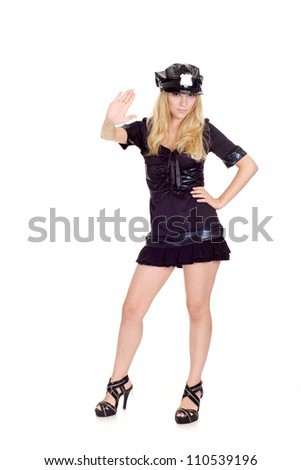 Brauteous girl in a uniform of  police officer on a white background - stock photo