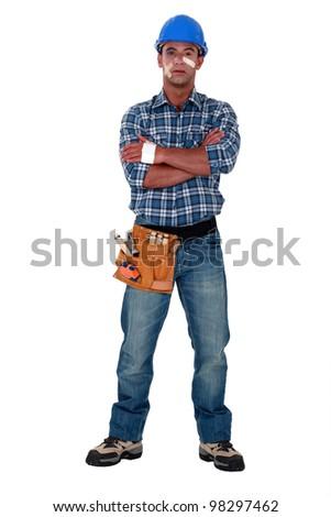 Brave builder - stock photo