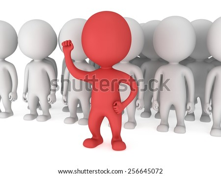 Brave red leader with raised fist stand before a crowd. Isolated on white 3d render. Leader, out of crowd concept.