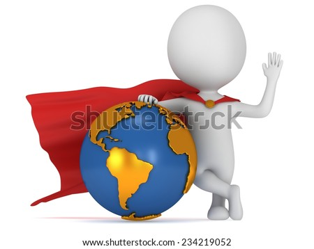 Brave super businessman with red cape stand near Earth globe. Isolated on white 3d render. Success, internet, world concept. - stock photo