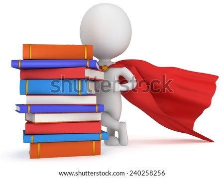 Brave superhero student with red cloak and colored books. Isolated on white 3d man. Education, university concept. - stock photo