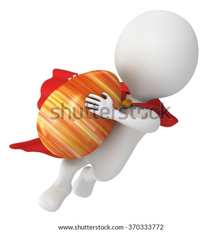Brave superhero with red cloak fly with Easter Egg. Isolated on white 3d man. Easter holiday and super power delivery concept