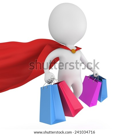 Brave superman with red cloak and colored paper shopping bags flying above. Isolated on white 3d man. Merchandise, shopping, mystery shopper concept. - stock photo