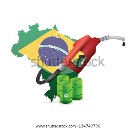 brazil alternative fuel with a gas pump nozzle illustration design over a white background - stock photo