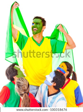 Brazil as champion leading a Latin group - isolated over white - stock photo
